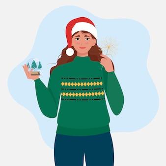 Femme heureuse avec boule à neige et lumière du bengale dans les mains illustration vectorielle mignon