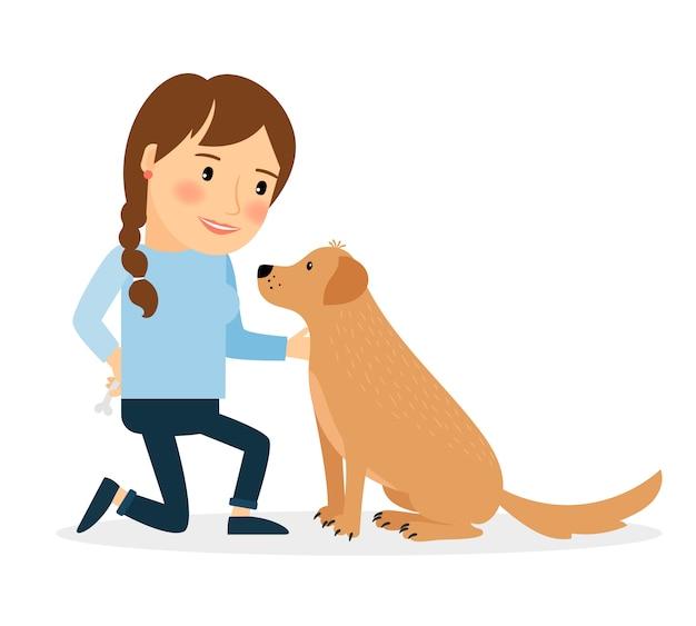 Femme heureuse avec chien