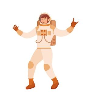 Femme heureuse cosmonaute en costume cosmique sur fond blanc