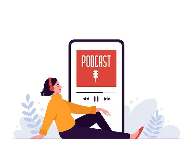 Une femme heureuse écoute un podcast avec des écouteurs sur fond de smartphone
