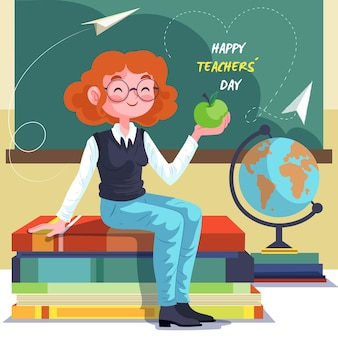 Femme heureuse illustrée enseignant