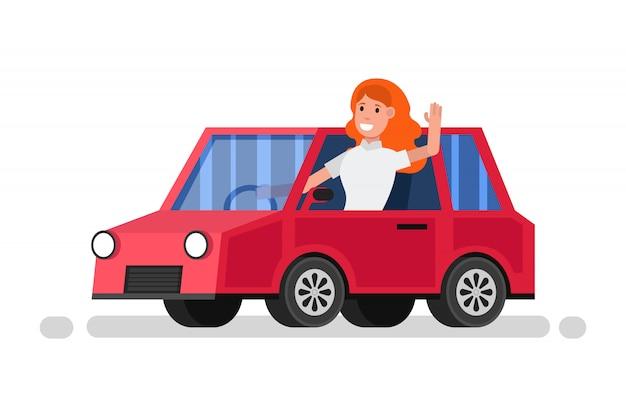 Femme heureuse monte en voiture rouge
