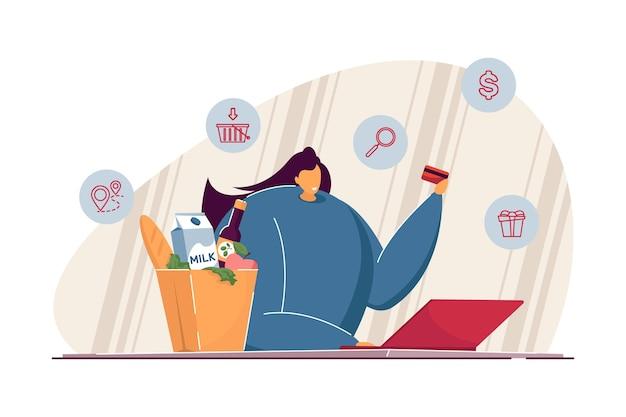 Femme heureuse avec ordinateur portable, commander de la nourriture