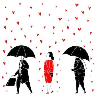 Femme heureuse sous la pluie de coeurs rouges.