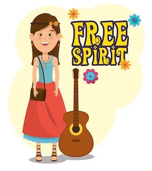Femme hippie avec un dessin animé de guitare