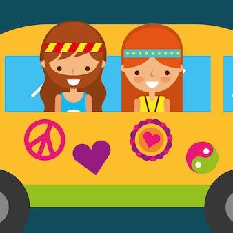 Femme hippie et homme dans l'esprit libre vintage van
