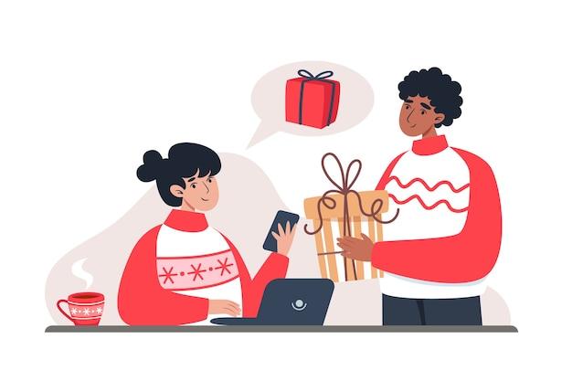 Femme et homme, acheter des cadeaux dans la boutique en ligne