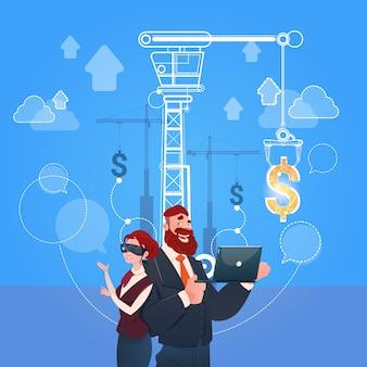 Femme et homme d'affaires porter des lunettes de réalité numérique argent finance concept de réussite