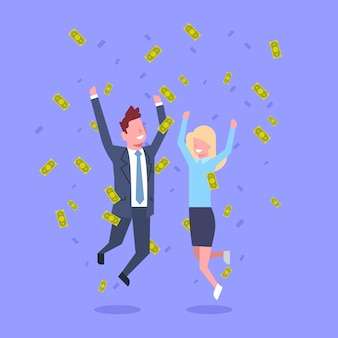 Femme et homme d'affaires prospère sautant jeter de l'argent riche homme d'affaires et femme d'affaires concept de réussite financière