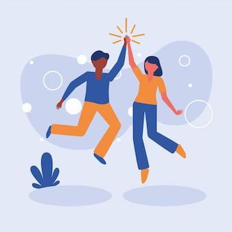 Femme et homme avatar amis vector design