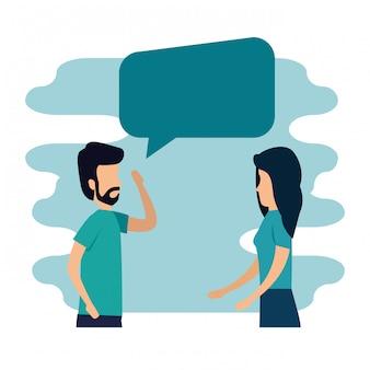 Femme et homme avec et bavarder bulle