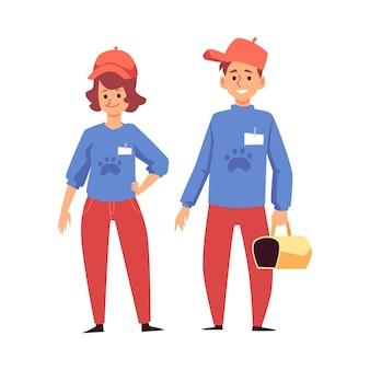 Femme et homme bénévoles de refuge pour animaux transportant un transporteur pour animaux de compagnie, illustration vectorielle plane isolée sur une surface blanche