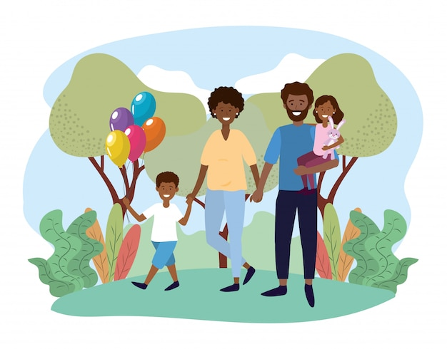 Femme et homme couple avec leur fille et fils