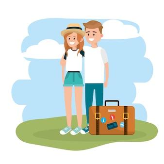 Femme et homme couple avec mallette de voyage