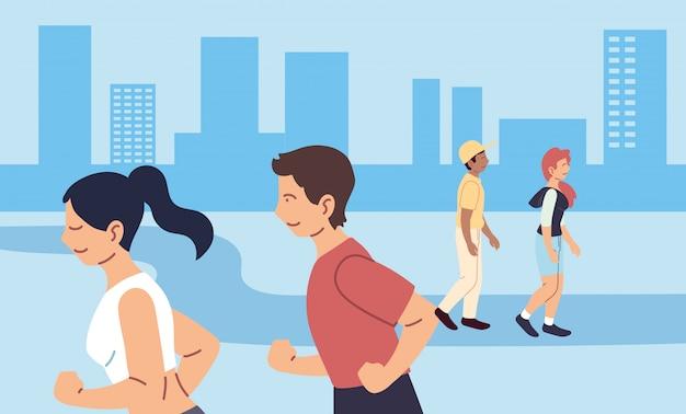 Femme et homme en cours d'exécution à la conception de la ville, rester en bonne santé sport et activité de plein air