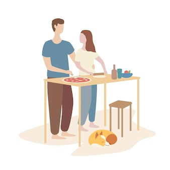 Femme, homme, cuisine, pizza, ensemble