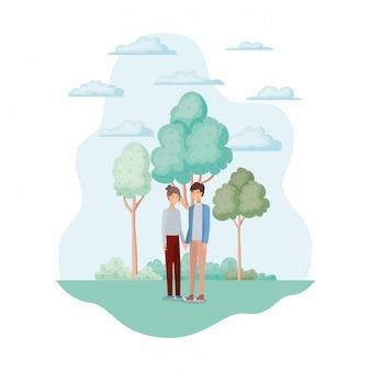 Femme et homme dans le parc