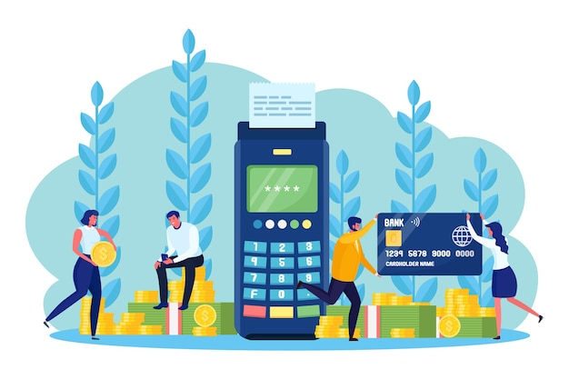 Femme et homme debout près du terminal de point de vente avec carte de crédit ou de débit. paiement sans numéraire