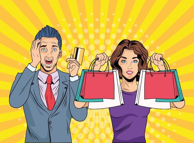 Femme et homme avec dessin vectoriel rétro de sac à provisions