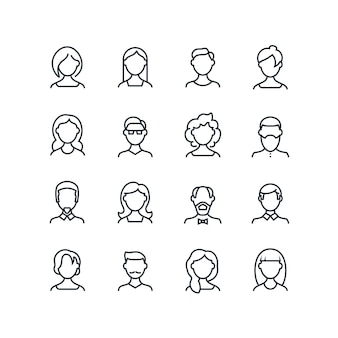 Femme et homme face à des icônes de la ligne. profil de profil masculin féminin avec des coiffures différentes. avatars de gens vecteur isolés