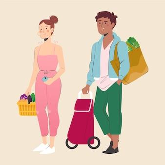 Femme et homme faisant l'épicerie