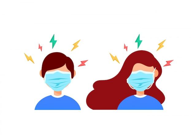 Femme et homme en masque médical de protection ont un mal de tête isolé.