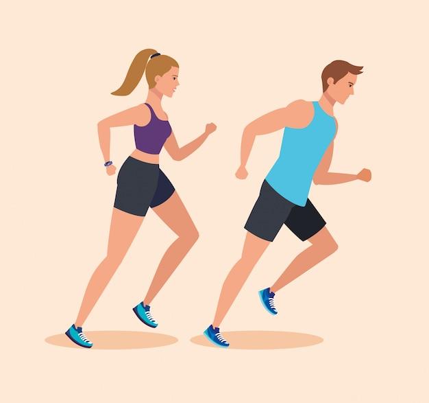 Femme et homme qui court pour pratiquer le sport
