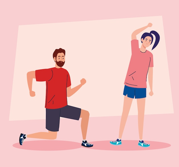 Femme et homme qui s'étend et fait de l'exercice à la maison conception du thème des activités et des loisirs