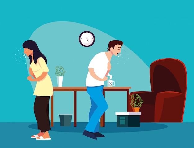 Femme et homme se sentant malade à la maison vector design