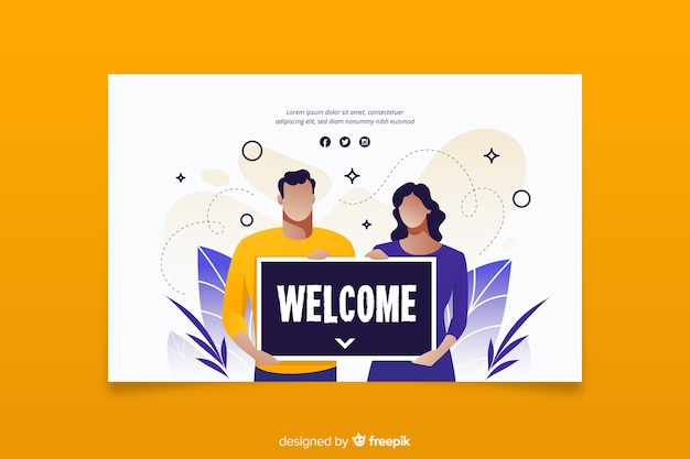 Femme et homme tenant une pancarte de bienvenue