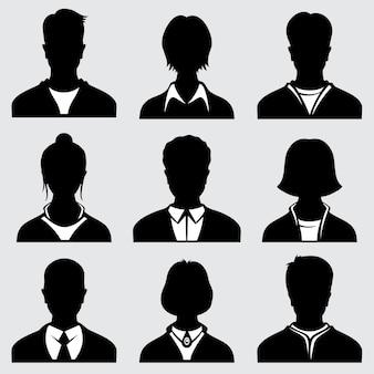 Femme et homme à la tête des silhouettes, icônes vectorielles de personne anonyme
