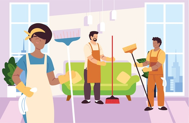 Femme et hommes dans le service de nettoyage à la conception d'illustration de fenêtres
