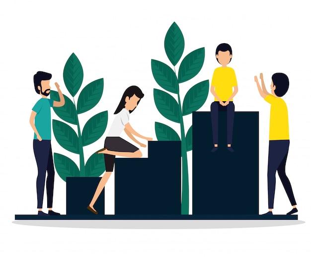 Femme et hommes, marketing d'équipe en entreprise