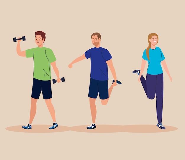Femme et hommes soulevant des poids et conception d'étirement, thème du sport et de la musculation gym.
