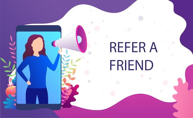 Femme hurle dans un mégaphone, référez un ami, recommandez à un ami. concept de marketing de page de destination, services de promotion de blogs, sites web, applications mobiles.