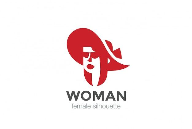 Femme en icône de logo de chapeau. style d'espace négatif