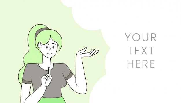 Femme avec illustration de bulle de discours vide. jeune fille sûre, gesticulant et pensant un personnage de dessin animé, suggérant une idée. modèle de vecteur plat design bannière avec espace de texte et dame qui parle