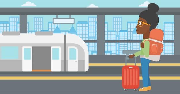 Femme à l'illustration vectorielle de la gare.