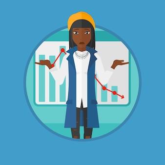 Femme avec illustration vectorielle graphique décroissant.