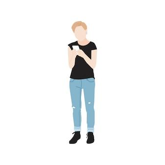 Femme illustrée à l'aide de téléphone portable