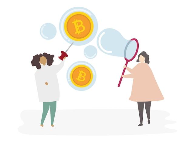Femme illustrée avec monnaie