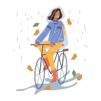 Femme en imperméable faisant du vélo sous la pluie vecteur
