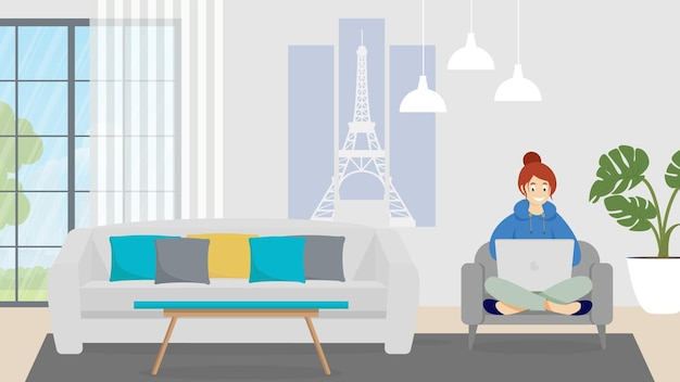 Femme indépendante avec ordinateur portable sur canapé à la maison. illustration plate.
