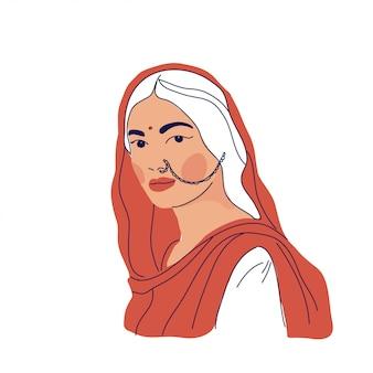 Femme indienne sur des vêtements traditionnels