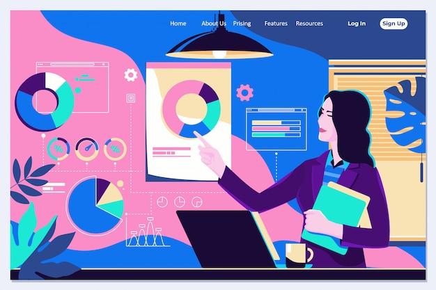 Femme, interaction, graphiques, analyse, statistiques, données