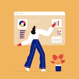 Femme interagissant avec les graphiques et analysant les statistiques. logiciel de suivi des clients, visualisation des données.