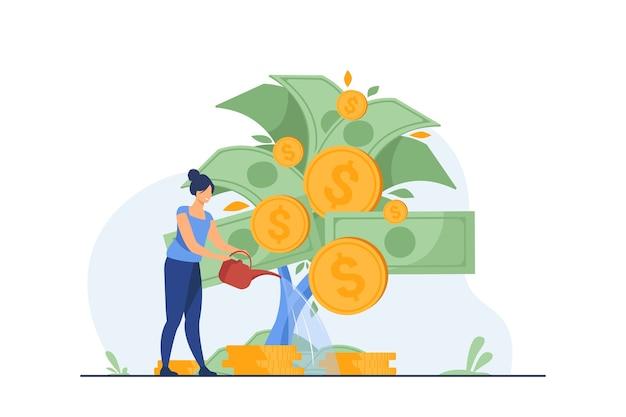 Femme investissant et réalisant des bénéfices.