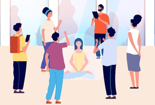Femme isolée. introverti vs extraverti, calme mental et méditation. fille dans la bulle et les gens autour