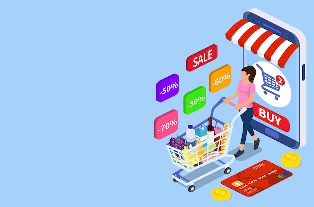 Femme isométrique avec panier. concept de magasinage et de supermarché, peut être utilisé pour la bannière web, l'infographie. illustration vectorielle dans un style plat