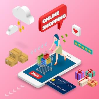 Femme isométrique, shopping sur téléphone intelligent.